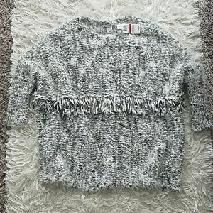 Bar III oversized fringe sweater xs
